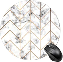 BYBART Mouse Pad, Black White Marble Stripe Mouse Pad Round Non-Slip Rubber Mousepad Office Accessories Desk Decor Mouse Pads for Computers Laptop
