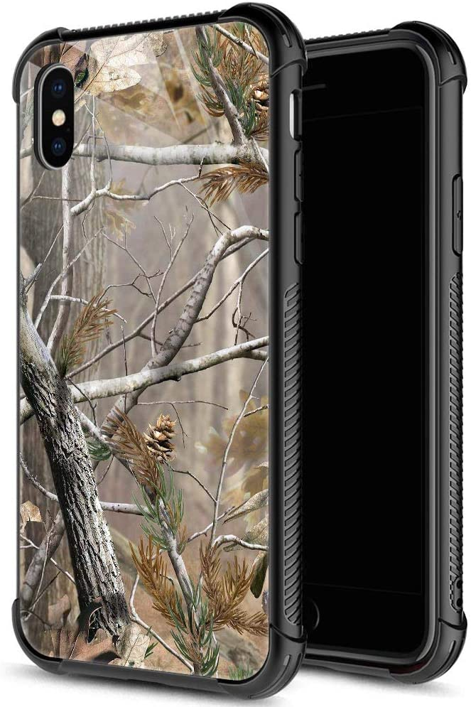 iPhone Xs MAX Case,9H Tempered Glass iPhone Xs MAX Cases for Men Boys,Cool Camouflage Tree Pattern Design Printing Shockproof Anti-Scratch Case for Apple iPhone Xs MAX 6.5 inch Camo Tree