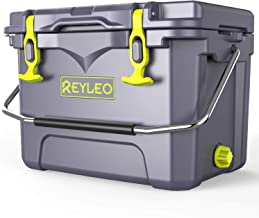 REYLEO Ice Chest | Portable Rotomolded Arctic Cooler Keeps Ice Up to 3 Days | Bear-Resistant 21-Quart Cooler (Built-in Bottle Opener, Cup Holder, Fish Ruler) for Camping, BBQs, Tailgating, Fishing