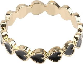 Generic Heart Stackable Ring Women Finger Ring Hearts Enamel Stackable Ring Alloy Finger Ring Romantic Ring Festival Jewel...