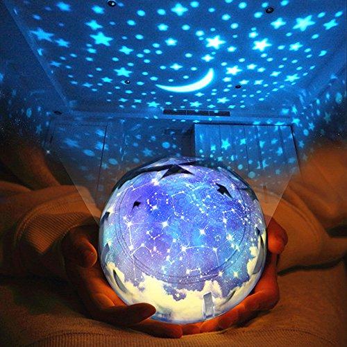 Sudatek, proiettore di stelle con luci LED, luce notturna, girevole a 360°, con cambio colore, lucina notturna per bambini, lampade per cameretta, regalo per Natale e festa di compleanno