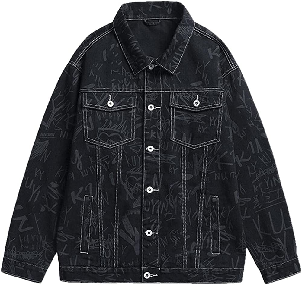 Limited time cheap sale Printed denim jacket men's loose Max 87% OFF trend clothing