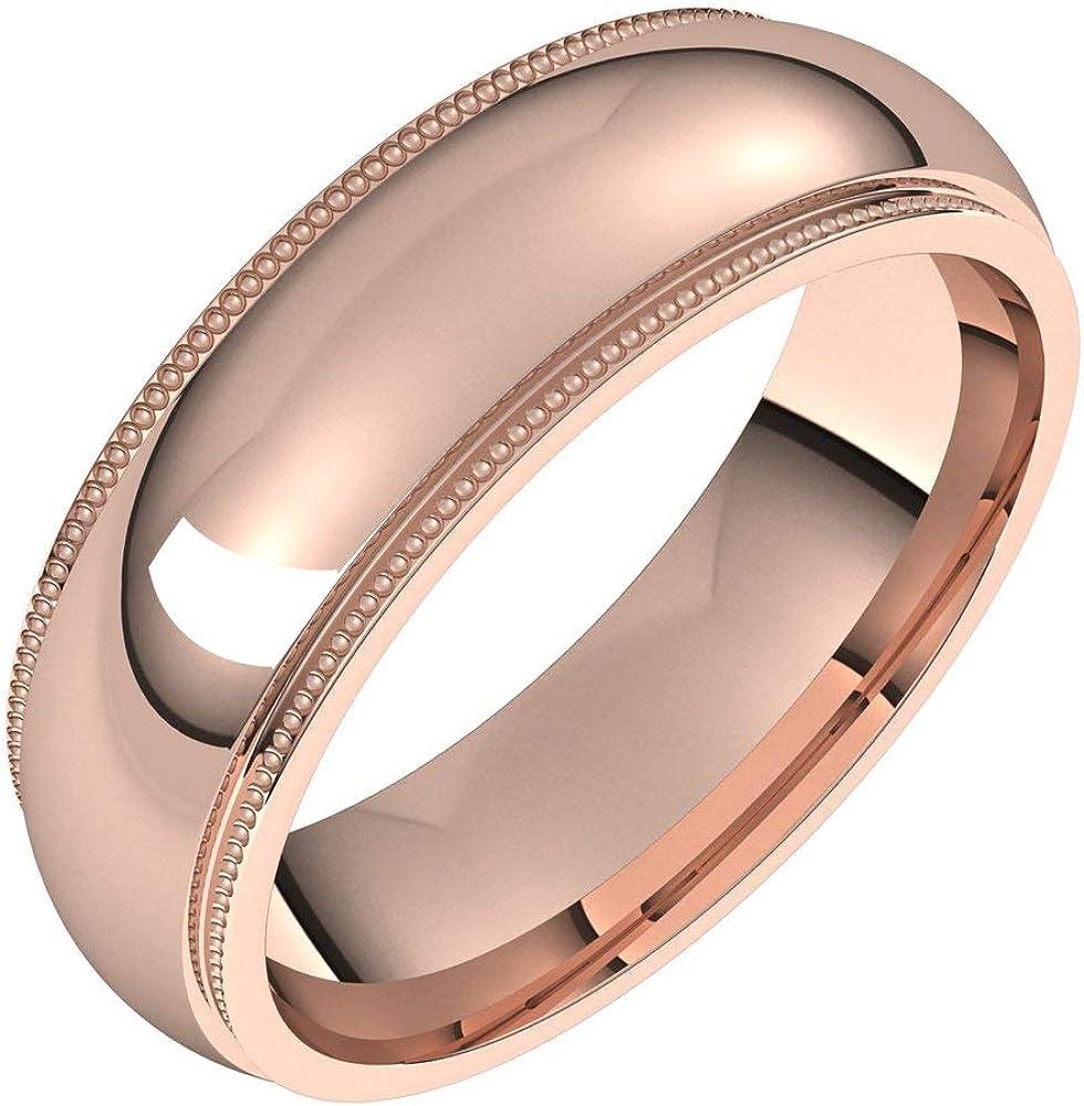 Arlington Mall Solid 14k Rose Gold trust 6mm Milgrain Edge Band Hea Ring Mens Wedding