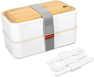 Navaris Recipiente hermético Estilo bento - Fiambrera con 2 Compartimentos Cubiertos y Tapa de bambú - Lunch Box para Colegio o Trabajo - En Blanco