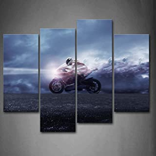 Blue Man Ride A Motorcycle Wall Art Painting Pictures Print On Canvas Car The Picture for Home Modern Decoration