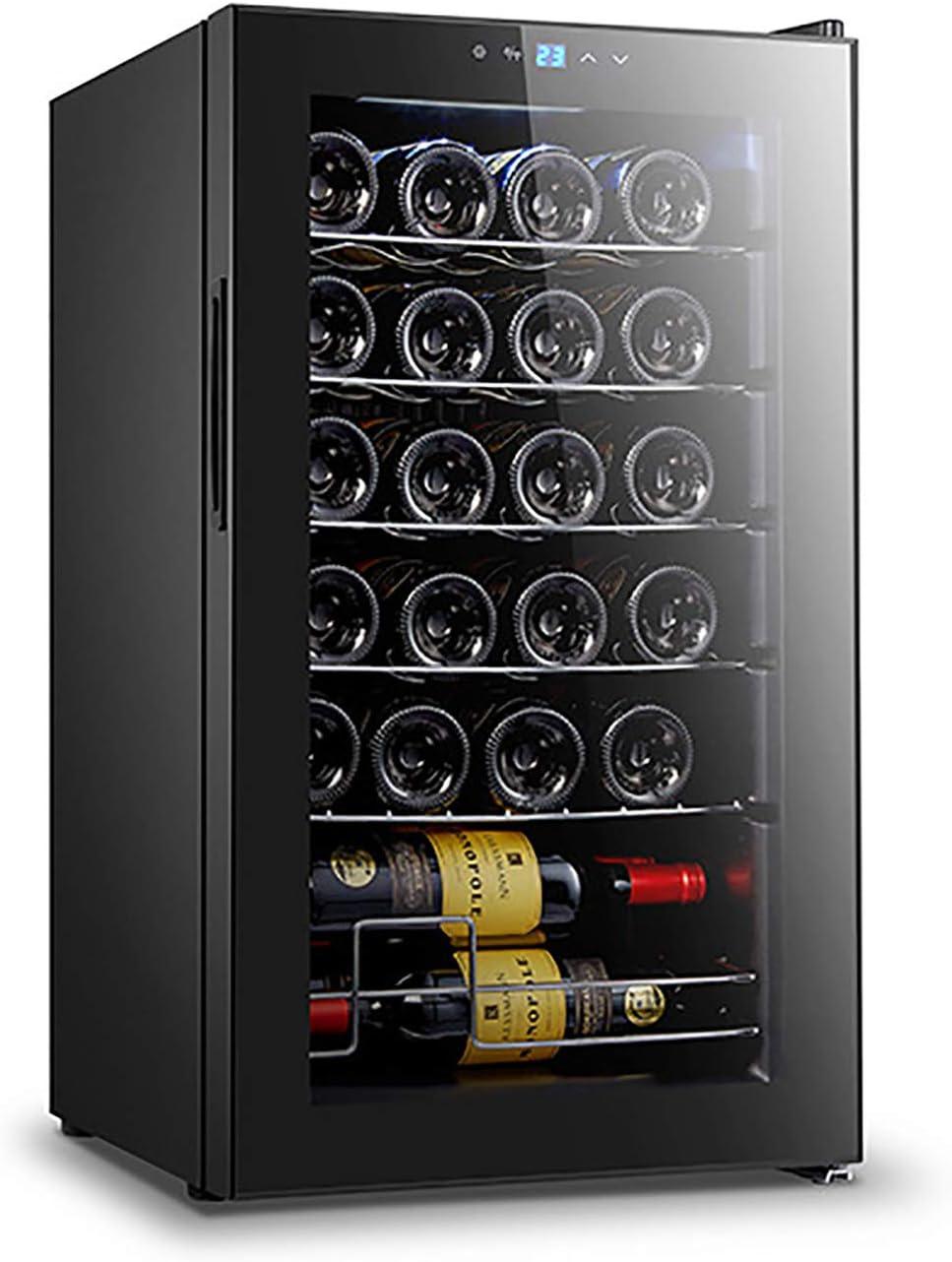 CLING Enfriador de Vino Refrigerador 24 Botellas de Doble Zona Integrado o Independiente con Aspecto Moderno Sistema de enfriamiento rápido y silencioso Puerta de Vidrio Templado de Doble Capa