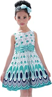 Children Baby Girl Kids Chiffon Bow Belt Sleeveless Bubble Peacock Princess Dress Party Clothing 2-6 Years