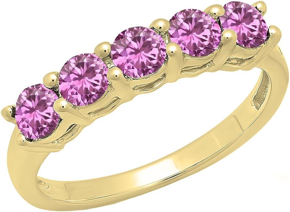 Dazzlingrock Collection 14K Ladies 5 Stone Bridal Wedding Anniversary Ring, Yellow Gold