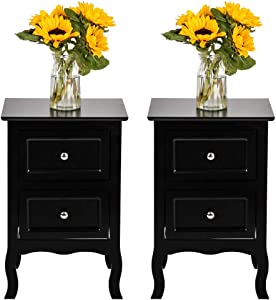 Nightstand Set of 2, Large Size Wooden Bent Legs Bedside End Table with Two Storage Drawer Cabinet for Bedroom Sofa Side Living Room Home Furniture (Black, 2-Pack)