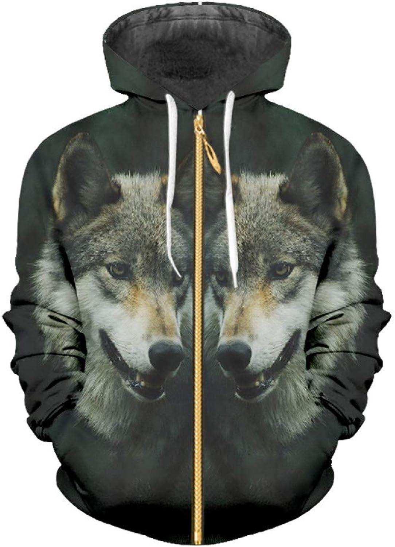 Ai Ya-weiyi 3D Full Gedruckt Tier Zip Hoodies Schwarz Gre Von Trend Mnner Wolf Zipper Jacke Casual Marke Günstigstes Kleidung