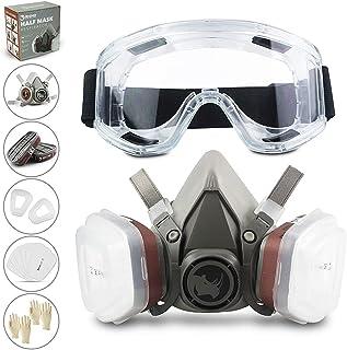 RHINO Smart Solutions Gezichtsbescherming (halfzijdig) anti-stof, herbruikbaar met bril, handschoenen, 6 deeltjesbeschermi...