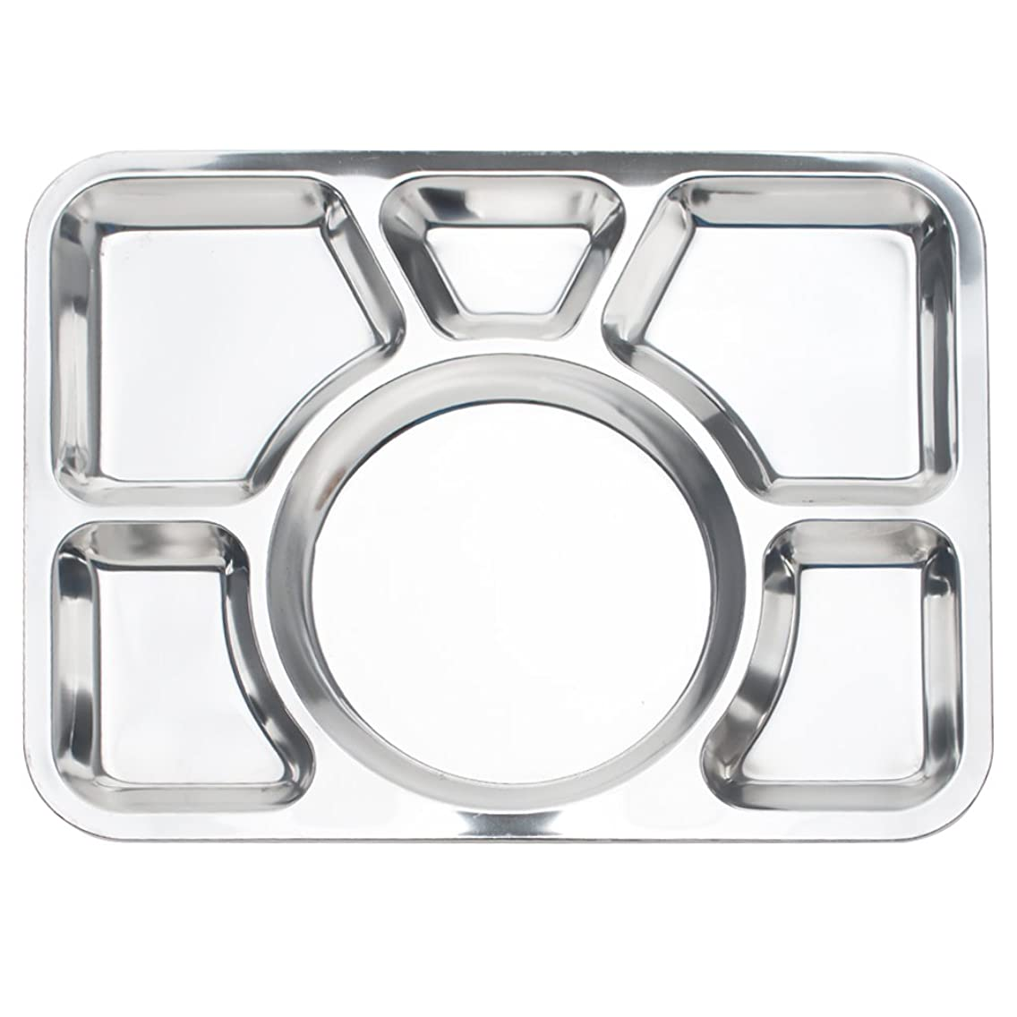 Aspire Divided Dinner Tray/Lunch Container, Metal Plate, 1 Pc-6 Sections