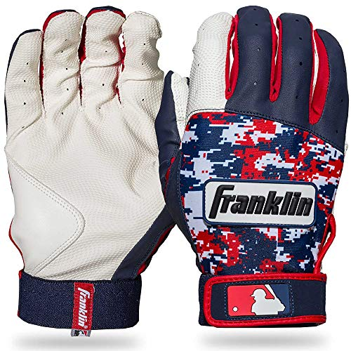 Franklin Sports MLB Digitek Baseball Batting Gloves - White/Navy/Red Digi - Adult Small