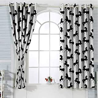 Grommet Window Curtain Window Curtain 2 Panel Horses,Farm Animal Silhouettes with Various Poses Galloping Trotting Cantering and Loping,Black White Curtain Living Room 72 x 63 inch