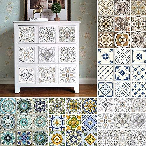 Vinilo decorativo para azulejos grueso y resistente al desgaste,10 Uds pegatinas de azulejos Vintage autoadhesivas impermeables marroquí mosaico calcomanías de pared estilo bohemio contemporáneo