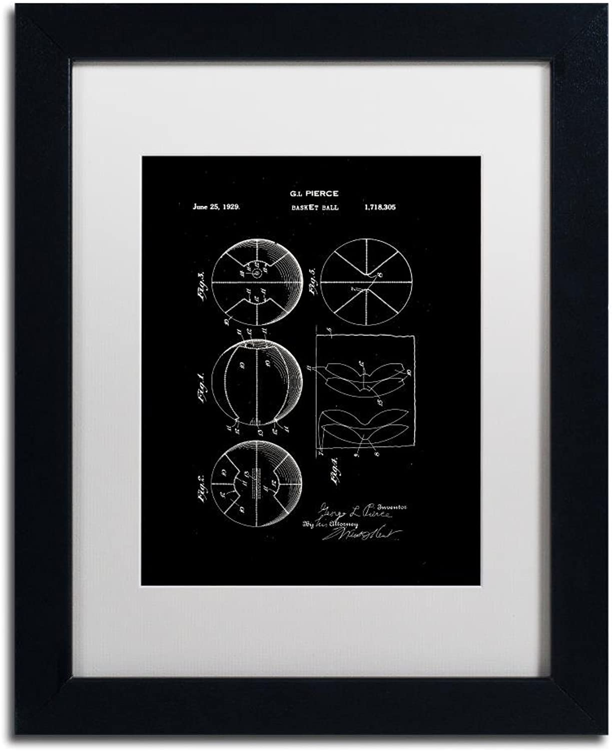 Trademark Fine Art Basketball Patent 1929 Black by Claire Doherty, White Matte, Black Frame 11x14