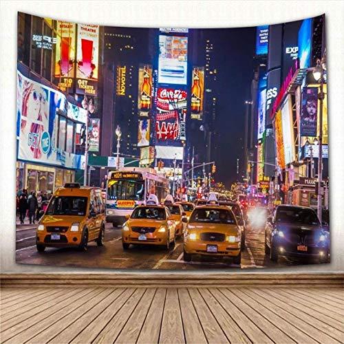 Tapiz,Ocupado New York City Street Night View Tapices Taxis Amarillos Bajo Una Moderna Luz De Neón Decoración Vintage Trippy Large Manta Decoración Para Dormitorio Sala De Estar, 150X130Cm / 60X5
