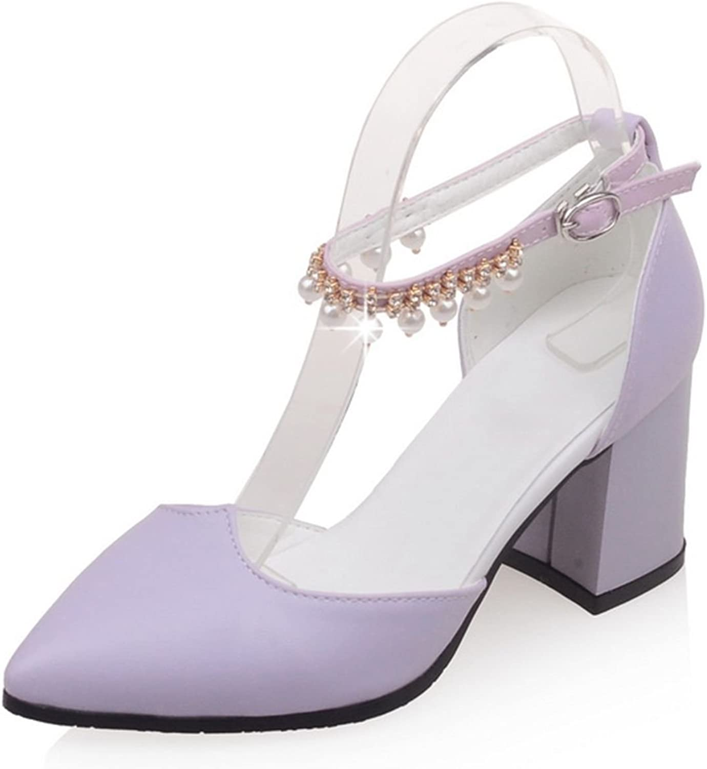 DoraTasia Sweet Pointed Toe Buckle Strap Pearl Decoration Thick Heel Women's Mary Jane