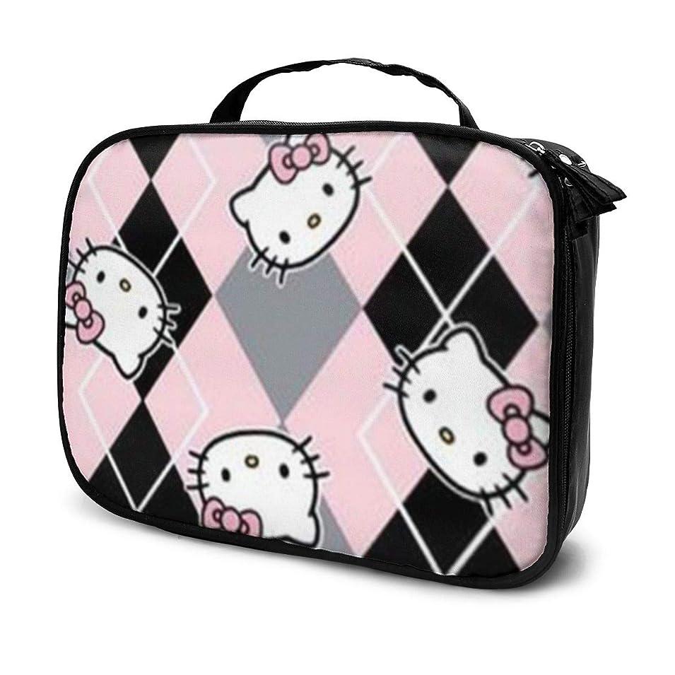 フットボール非アクティブ銀Daitu黒とピンクのハローキティ 化粧品袋の女性旅行バッグ収納大容量防水アクセサリー旅行