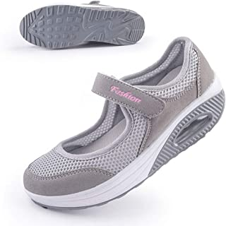 Women's Comfort Working Nurse Shoes Adjustable Breathable Wedges Slip-on Walking Sneaker Fitness Casual Shoes Mary Jane Sneaker42#,Gray