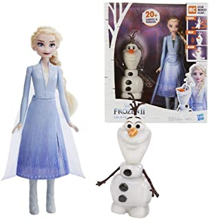 Hasbro Disney Frozen Talk and Glow Olaf and Elsa Dolls, Remote Control Elsa Activates Talking, Dancing, Glowing Olaf, Insp...