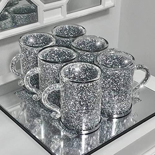 6PC Set of Crushed Crystal Diamond Mugs for Coffee /Tea & Home Decor