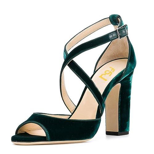 b3f8c88e83437 FSJ Women Elegant Peep Toe Sandals Chunky High Heel Pumps Cross Strap Velvet  Dress Shoes Size