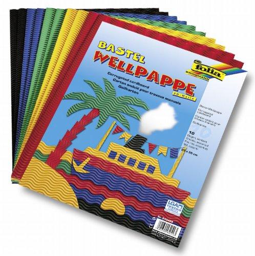 folia 940409 - Bastel Wellpappe, 3D-Welle, ca. 25 x 35 cm, 10 Bogen sortiert in 5 verschiedenen Farben