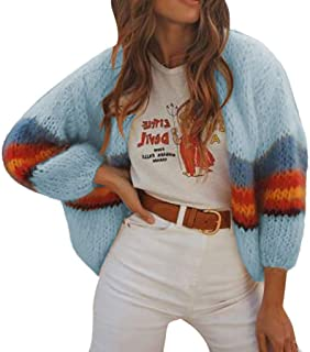 Opinionated Women's Cotton Cashmere Cropped Oversized Cardigan Sweater Casual Striped Color Block Knit Open Front Coat