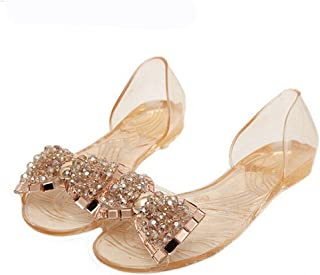 Dear Time Women Sandals Summer Style Bling Bowtie Fashion Peep Toe Jelly Shoes