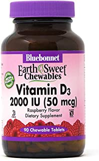Bluebonnet Nutrition Earth Sweet Vitamin D3 2000 IU Chewable Tablets, Aids in Muscle and Skeletal Growth, D3, Non GMO, Glu...