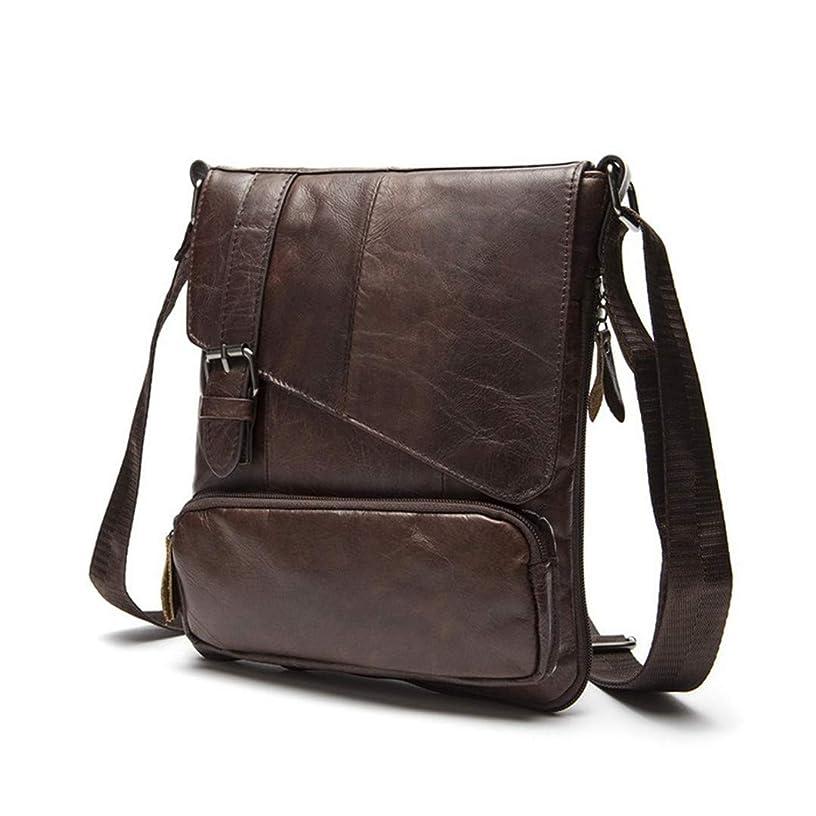 Leather Men Messenger Bag Crossbody Shoulder Handbag Cowhide Casual Bag 8239F4Coffee 24Cm