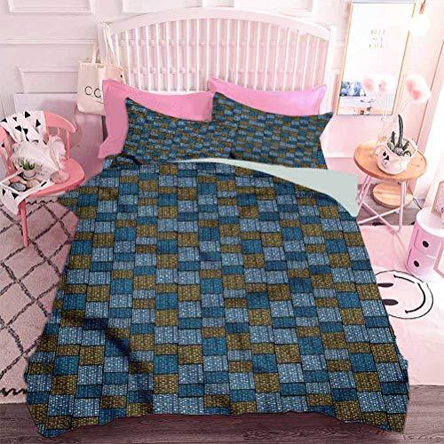 Hiiiman Juego de ropa de cama de 3 piezas abstractas flores juego de edredón con 2 fundas de almohada