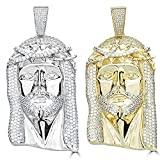 Huge 3' Solid 925 Sterling Silver Iced Out Jesus Piece Pendant - Men's - Great for Any Chain! (Gold Tone)