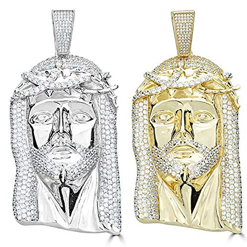 """Huge 3"""" Solid 925 Sterling Silver Iced Out Jesus Piece Pendant - Men's - Great for Any Chain! (Gold Tone)"""