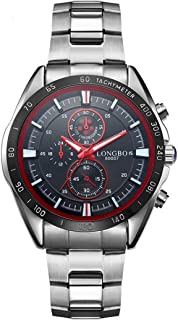 Morden LONGBO 3975 Import Quartz Movement Fashion Sport Men Watch with Stainless Steel Band, Waterproof, Luminous, Three Decoration Dials (Color : Red)