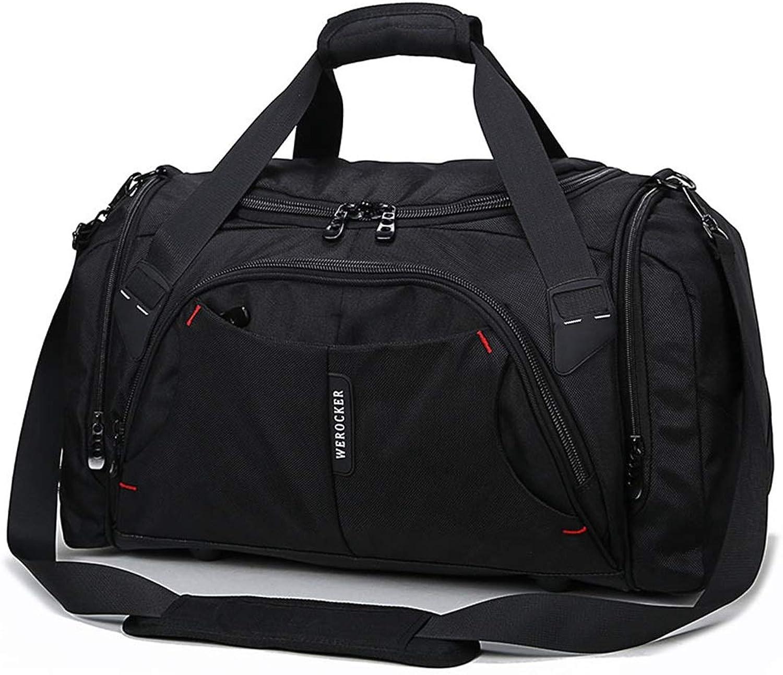 Outdoor Sports Bags Black Nylon Duffel Bag Men's and Women's Gym Bags. (color   Black)
