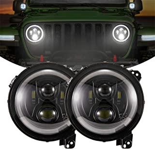 KIWI MASTER 9 Inch Round LED Headlights Halo DRL for 2018 2019 Jeep Wrangler JL Accessories High Low Beam Headlight with Daytime Running Lights (New Version Adjustable Screw)