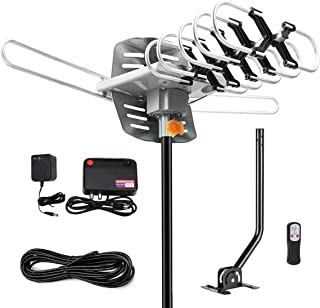 [2019 ULTIMATE] HD TV Antenna Indoor Amplified Digital HDTV 80 Mile Range with Detachable Amplifier Signal Booster and 18FT High Performance Coaxial Cable Local Broadcast HD Signal Channels Television