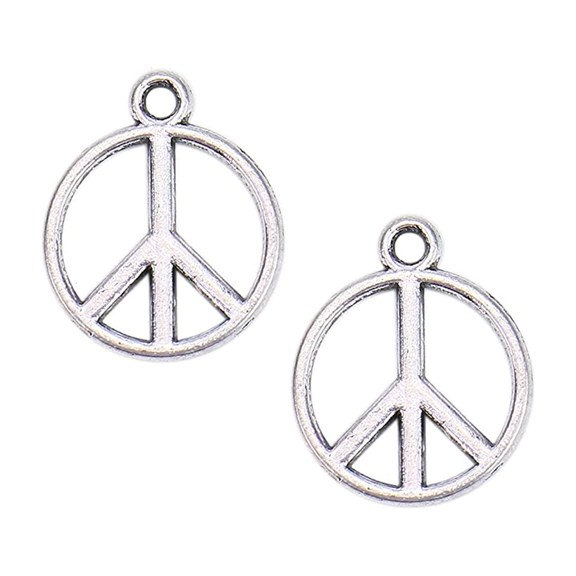 Monrocco 100Pcs Alloy Peace Symbol Charms Pendant Jewelry Findings for Jewelry Making Necklace Bracelet DIY,Vintage Silver