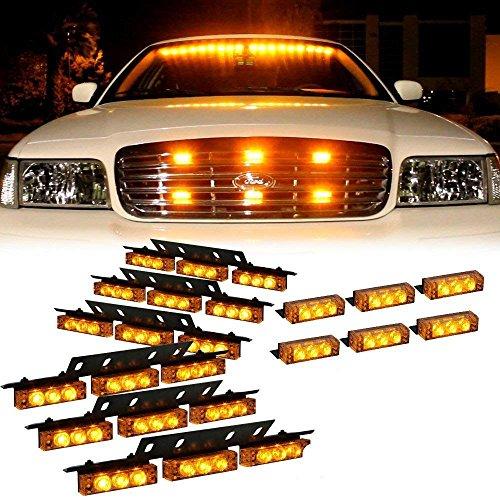 LifeUp 12V Peligro Emergencia Luces intermitentes de advertencia para vehículo, 18 LED luces estroboscópicas en del automóvil Parrilla delantera (Rojo + Blanco) (Amarillo)