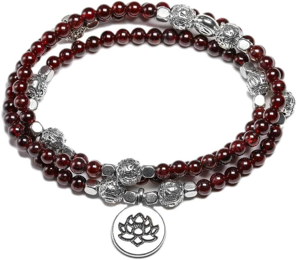 ANSP88 outlet - Natural Garnet 108 Mala Dedication Beads OM Bracelets Tibeta Lotus