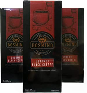 3X Bosmino Colombian Arabica Black Coffee Cafe Nior Organic Ganoderma Lucidum (1 Box: 30 Sachets)