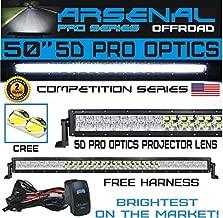 Arsenal 5D 50 inch Curved Pro Optics 288W 5D=480W 48,000LM CREE LED Light Bar for Extreme Offroad 5D Spot Flood Combo beam Trucks 4x4 Jeep SUV FREE LED LIGHT BAR ROCKER SWITCH KIT