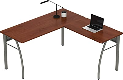 """Linea Italia Trento L-Shaped Corner Easy to Assemble Metal Desk 