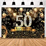 Sensfun 7x5ft Happy 50th Birthday Party Photography Backdrop Glitter Black and Gold Balloons Background for Woman Fabulous 50 Bday Party Decorations Shining Diamond Fifty Years Old Photo Booth Banner