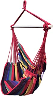 Auwish Hammock Chair Macrame Swing with 2 Pillows Handmade Hanging Cotton Rope Patio Chairs for Indoor, Outdoor Home, Bedroom, Deck, Yard, Garden Wide Seat (Multicolor)