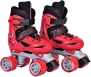 LLSZ Roller Skates Adjustable for Kids,Double Row 4 Wheel With All Wheels,Fun for Girls and Ladies (Color : Red, Size : M)