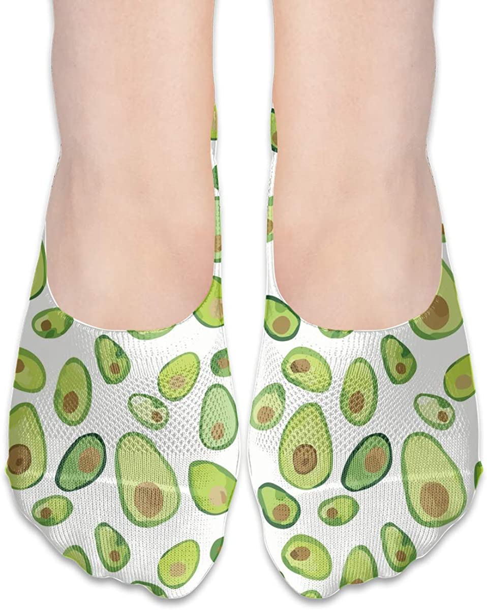 No Show Socks Women Men For Watercolor Avocado Painted Flats Cotton Ultra Low Cut Liner Socks Non Slip