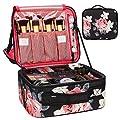 Travel Makeup Case,Chomeiu- Professional Cosmetic Makeup Bag Organizer,Accessories Case, Tools case (Black-M) (flowerB-M)